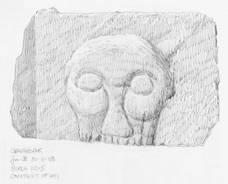 Scanned pencil survey drawing of Grotesque Head no. 401