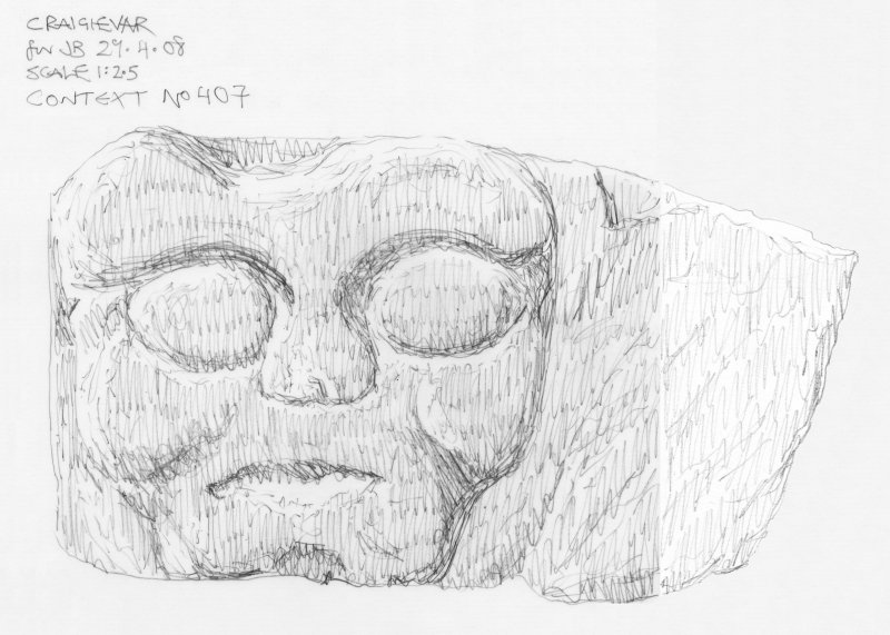 Scanned pencil survey drawing of Grotesque Head no. 407