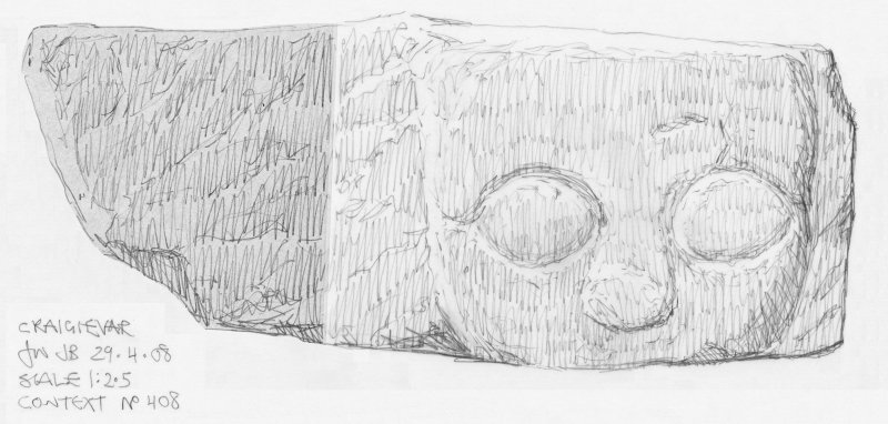 Scanned pencil survey drawing of Grotesque Head no. 408