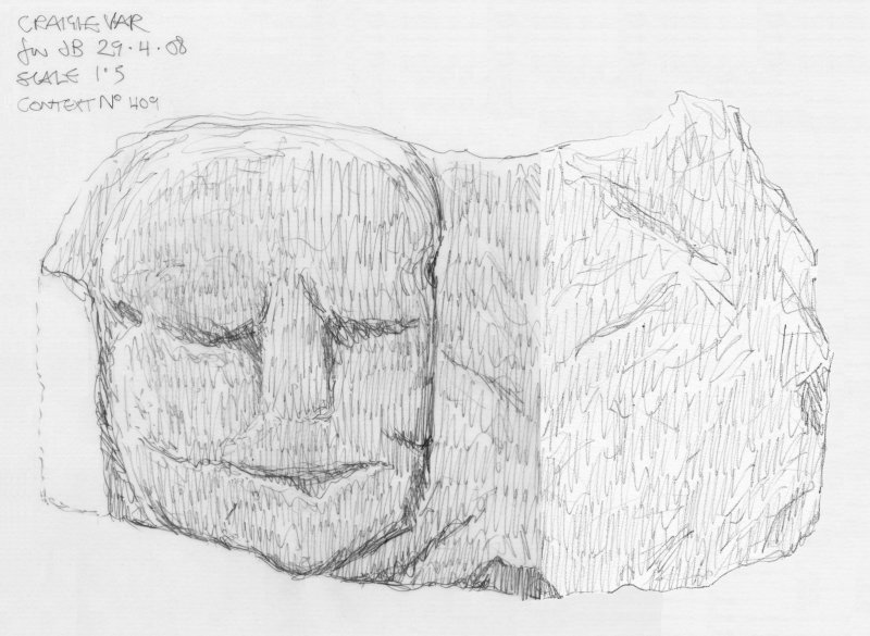 Scanned pencil survey drawing of Grotesque Head no. 409