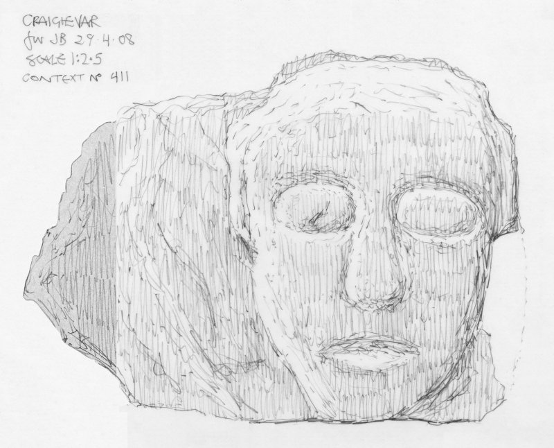 Scanned pencil survey drawing of Grotesque Head no. 411