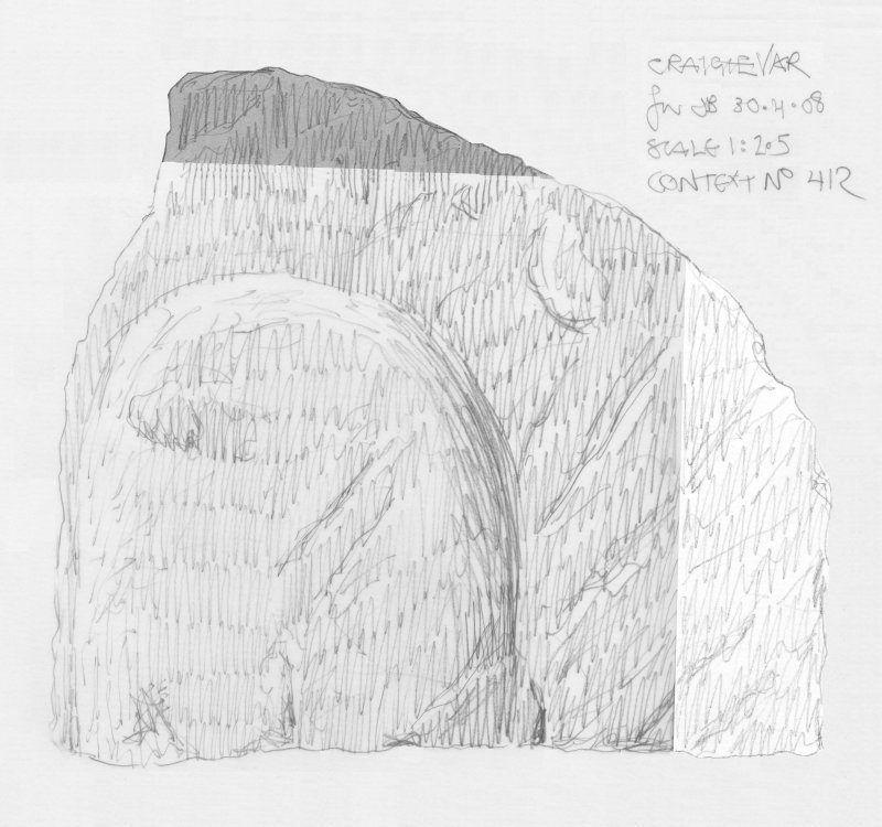 Scanned pencil survey drawing of uncarved panel no. 410