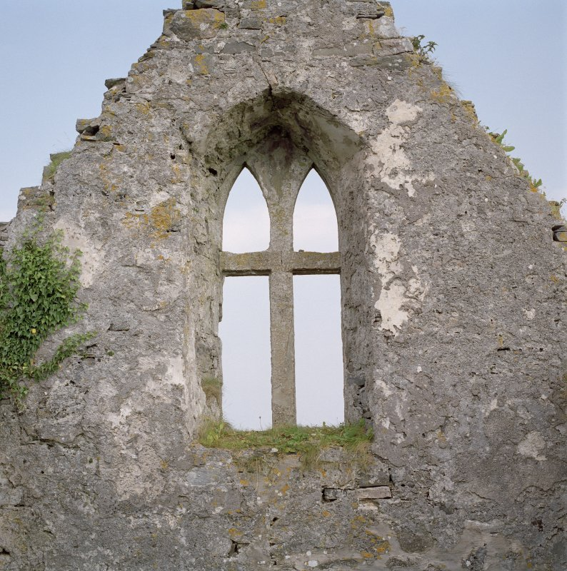 Interior, window in N gable of N aisle, view from S