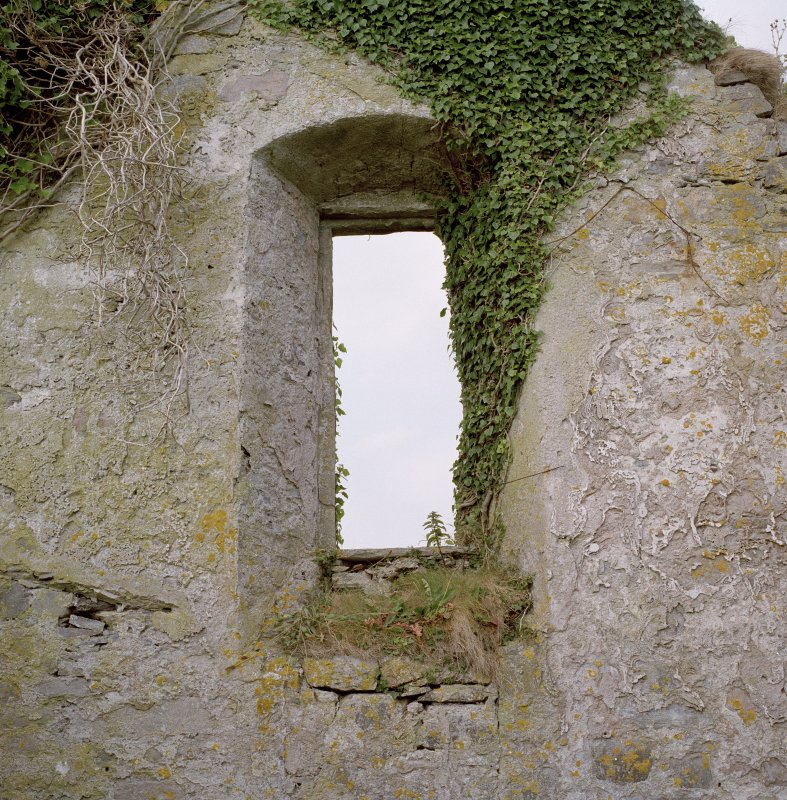 Interior, window in W gable, view from E