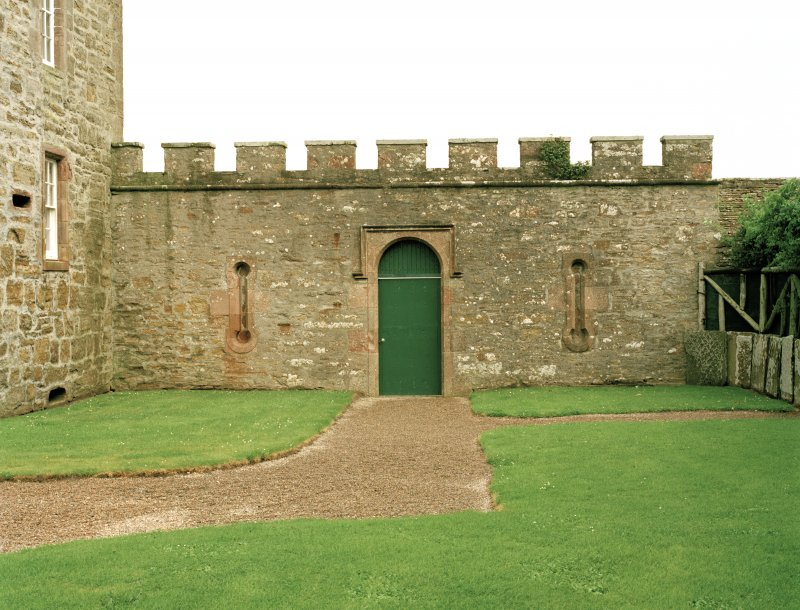 View of wall to east of castle with doorway