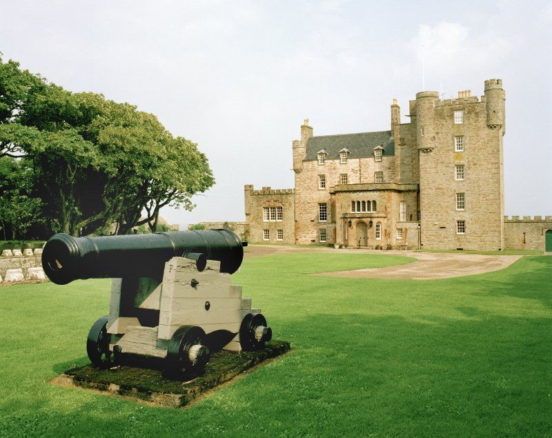 View of main front with cannon from south east