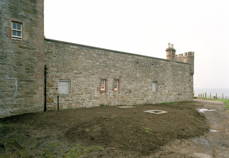 View of east wall of courtyard from south east