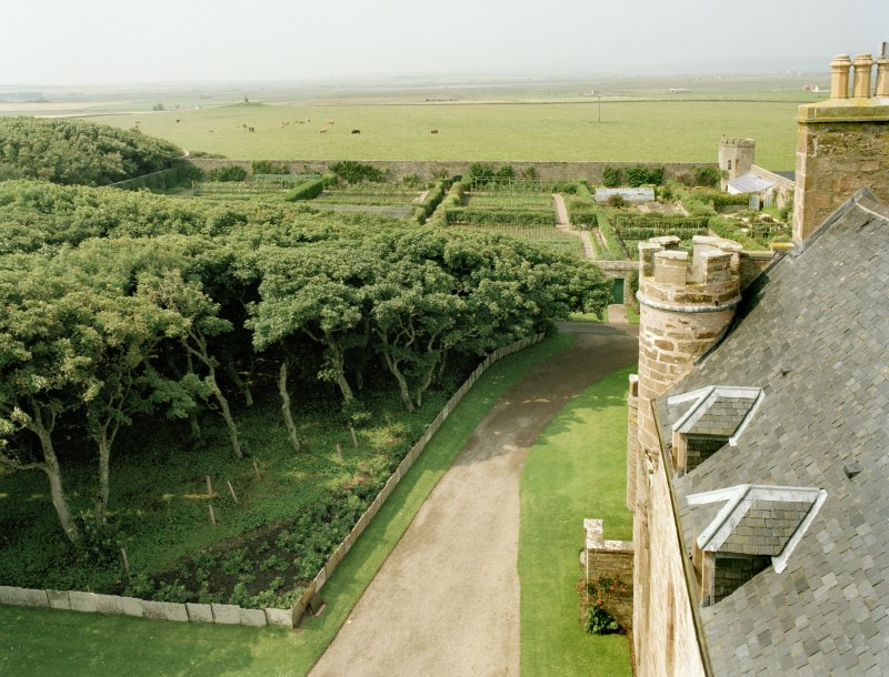 View of walled garden from roof of castle to east