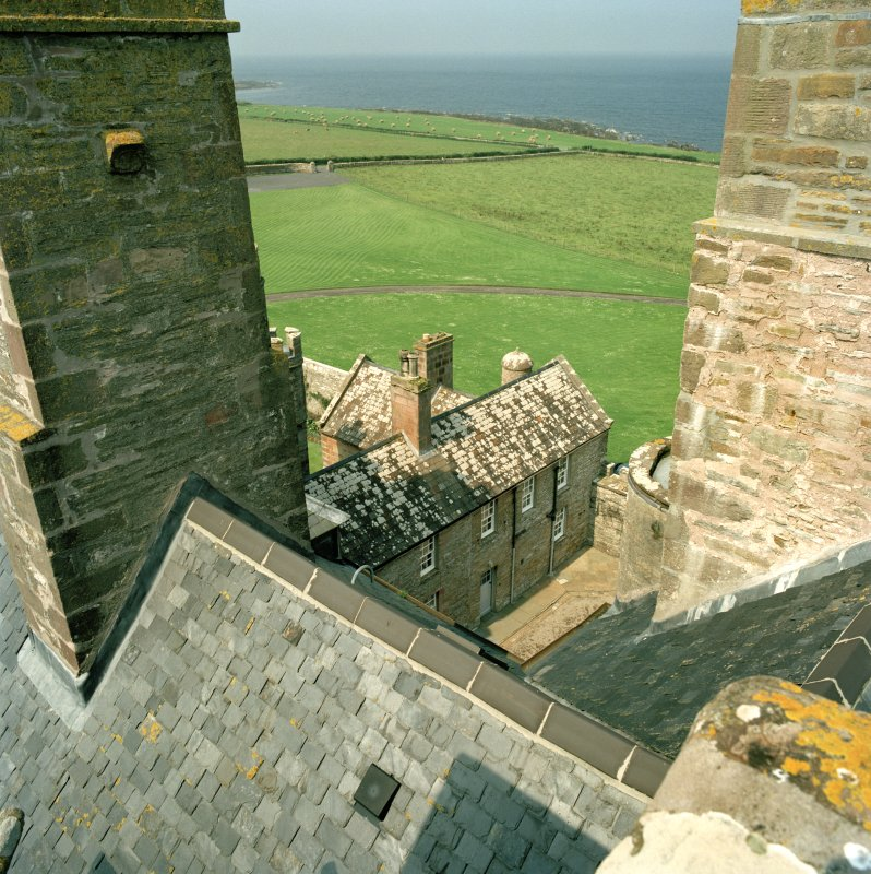 View of west range of courtyard from roof of castle
