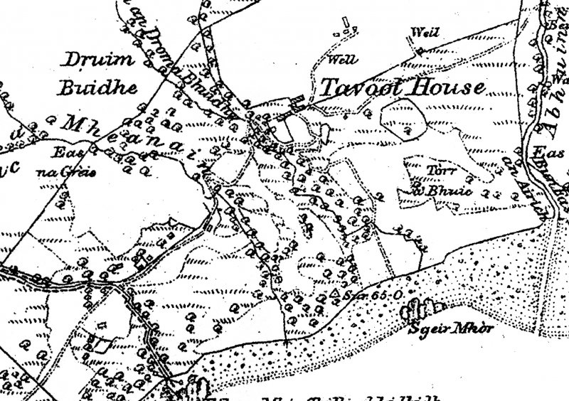 1881 OS 6 inch to 1 mile Tavool House & cottages to SW