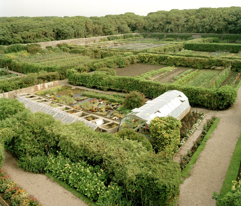 Walled garden, view from roof of corner tower