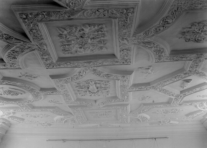 Interior. View of first floor ceiling 17th century plasterwork.