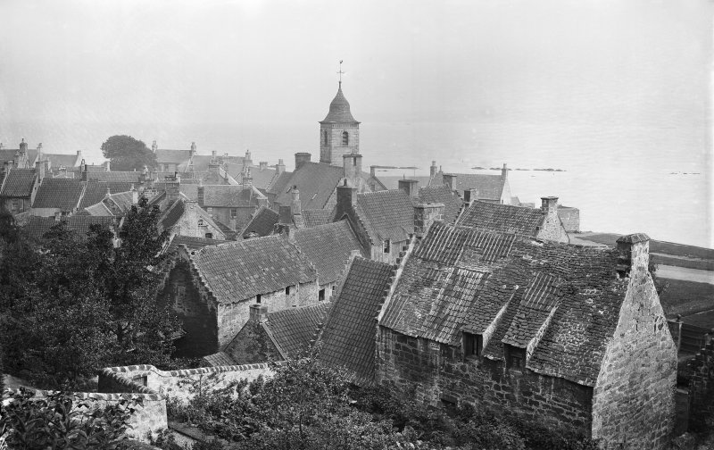 View across Culross from the high path behind the town known as 'the Hanging Gardens'. Scanned image from original glass plate negative. Original envelope annotated by Erskine Beveridge 'Culross from hanging gdns'.