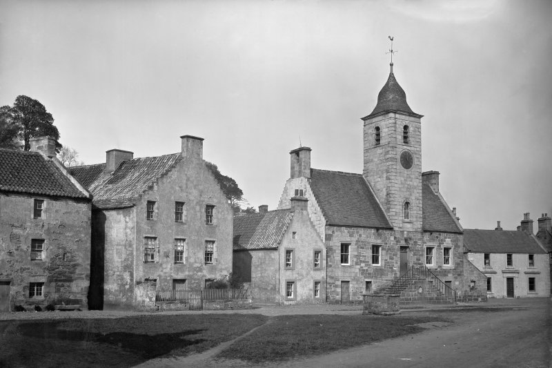 Culross, Townhouse View from south west. Scanned image from original glass plate negative. Original envelope annotated by Erskine Beveridge 'Townhouse Culross ?1882'