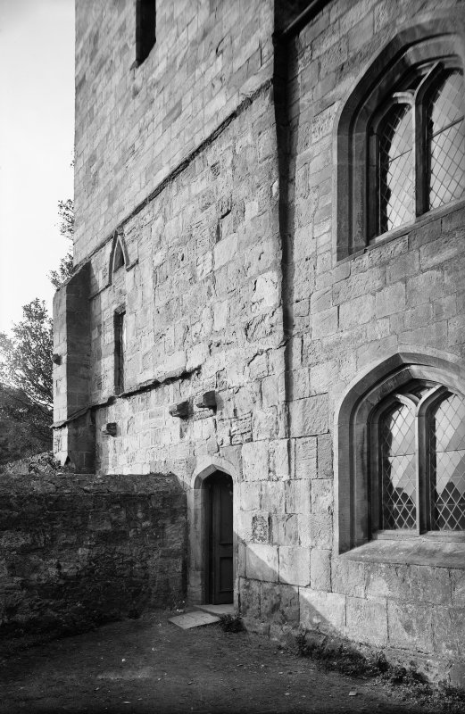 Culross Abbey View of base of tower. Scanned image from original glass plate negative. Original envelope annotated by Erskine Beveridge 'South of Culross Abbey ch. Close'