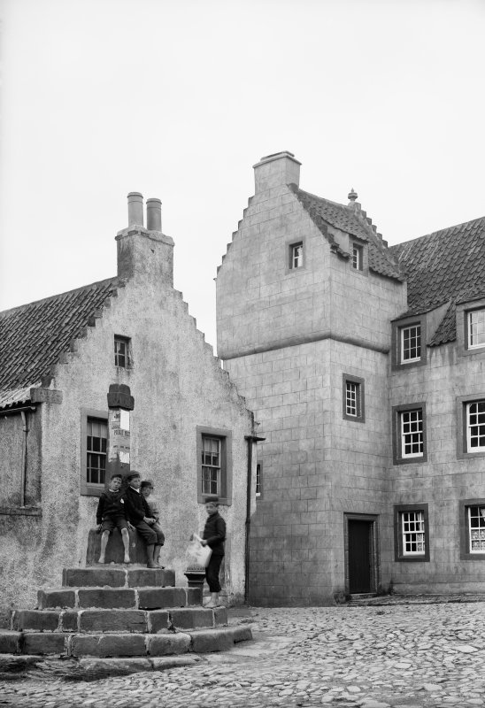 Culross General view of The Study and the market cross (before restoration). Scanned image from original glass plate negative. Original envelope annotated by Erskine Beveridge 'Cross Culross'