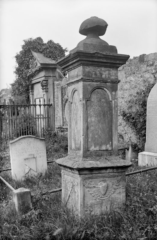 Culross. View of Ferguson gravestone. Scanned from original glass plate negative. Envelope annotated by Erskine Beveridge 'Ferguson Mon[umen]t, Culross'