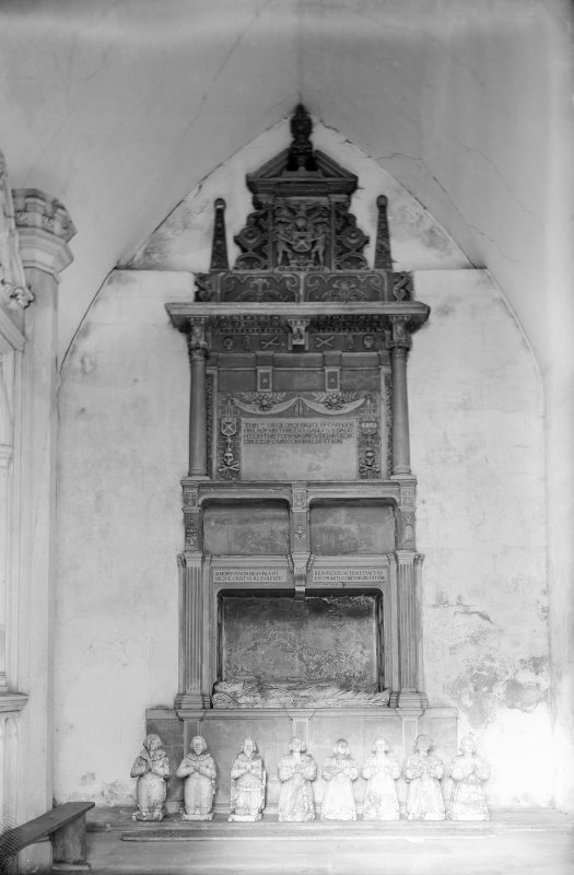 Culross Abbey. View of tomb of Sir George Bruce of Carnock. Scanned from glass plate negative. Original envelope annotated by Erskine Beveridge 'Bruce Mon[umen]t, Culross'