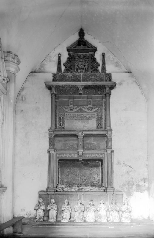 Culross View of tomb of Sir George Bruce of Carnock. Scanned from glass plate negative. Original envelope annotated by Erskine Beveridge 'Bruce Mon[umen]t, Culross'