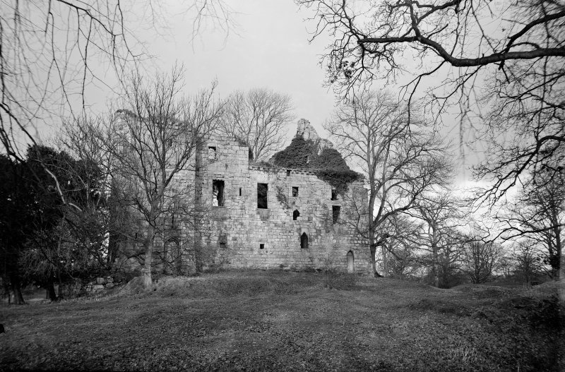 Old Tulliallan Castle. View of castle through trees. Scanned from glass plate negative. Original envelope annotated by Erskine Beveridge 'Tuliallan Cas'