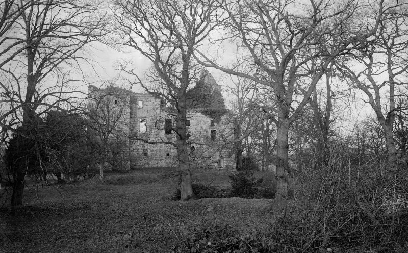 Old Tulliallan Castle View of castle through trees.  Scanned from glass plate negative. Original envelope annotated by Erskine Beveridge 'Tulliallan Cas[tle] through trees.