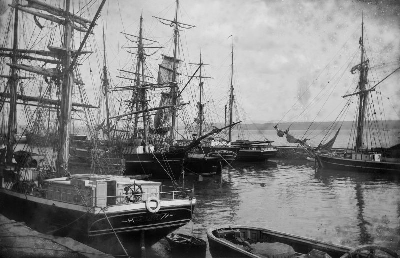 Charlestown, harbour. General view of ships in harbour. Scanned image from glass plate negative. Original envelope annotated by Erskine Beveridge 'Ships at Charlestown'