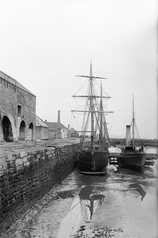 Charlestown, harbour. View of ships in harbour with limekilns to left. Scanned image from glass plate negative. Original envelope annotated by Erskine Beveridge 'Charlestown'