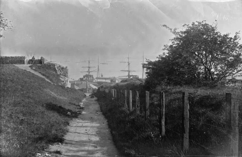 Charlestown General view looking down lane into Charlestown Harbour and towards the Forth. Scanned image from glass plate negative. Original envelope annotated by Erskine Beveridge 'Charlestown (Fife) Waggon Rd'