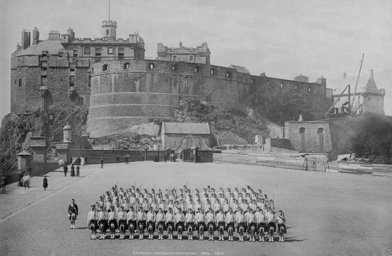 Historic photograph. View of soldiers on esplanade, insc: 'EDINBURGH CASTLE FROM ESPLANADE. 6824 G.W.W.'