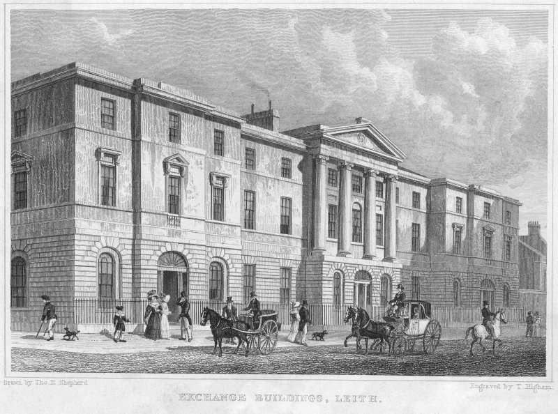"Edinburgh, Constitution Street, Leith Exchange Buildings. Engraving of Exchange Buildings from North-West. Insc: ""Exchange Buildings, Leith"" ""Drawn by Tho.H.Shepherd"" ""Engraved by T.Higham"""