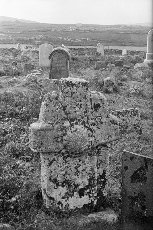 Tiree, Soroby, Burial Ground. View of front of cross.