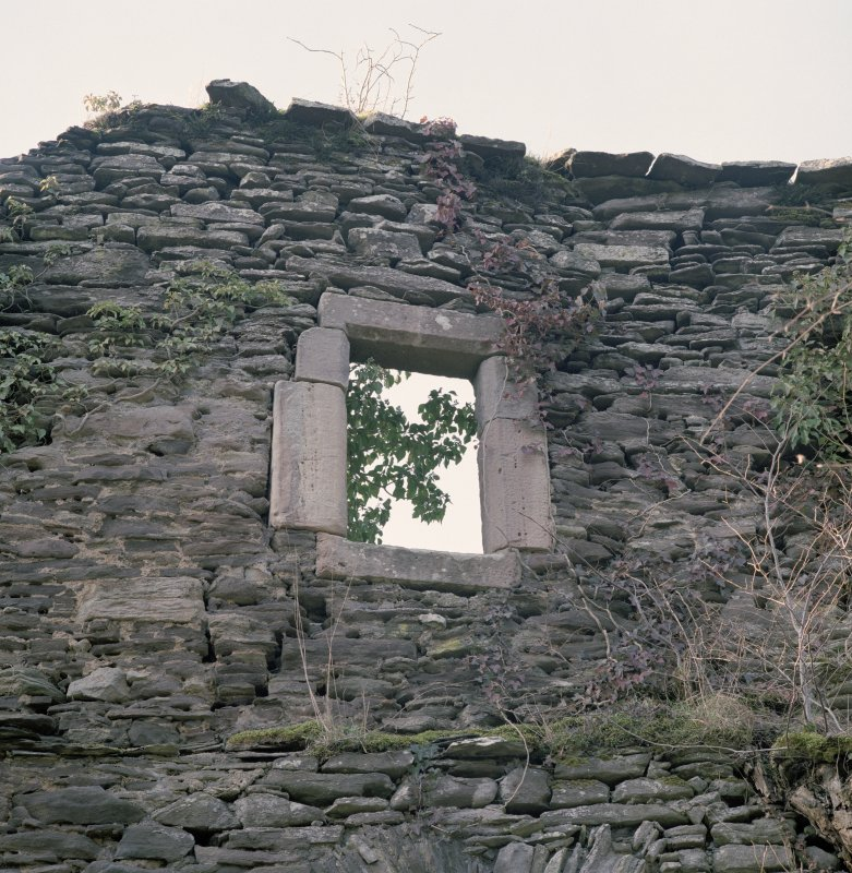 Detail of upper window on E side of tower