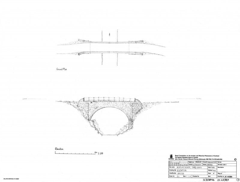 Scan of an original pencil drawing of the bridge over Kearvaig River. Original drawing was undertaken as part of the RCAHMS Cape Wrath Training Area survey