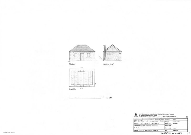 Scan of an original pencil drawing of the plan, elevation and cross section of the storehouse building at Clais Charnach. Original drawing was undertaken as part of the RCAHMS Cape Wrath Training Area survey