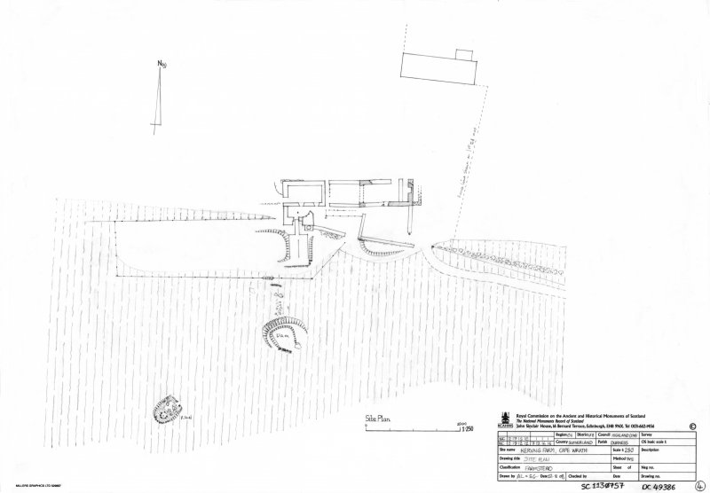Scan of an original pencil drawing of the site plan of Kearvaig farmstead and hunting lodge. Original drawing was undertaken as part of the RCAHMS Cape Wrath Training Centre survey.