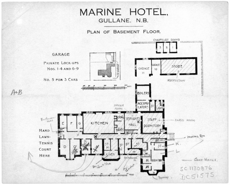 Scanned image of printed drawing of Marine Hotel, Gullane N.B. Plan of basement floor including garage and private lock ups with annotations relating to take over by Fire Service.