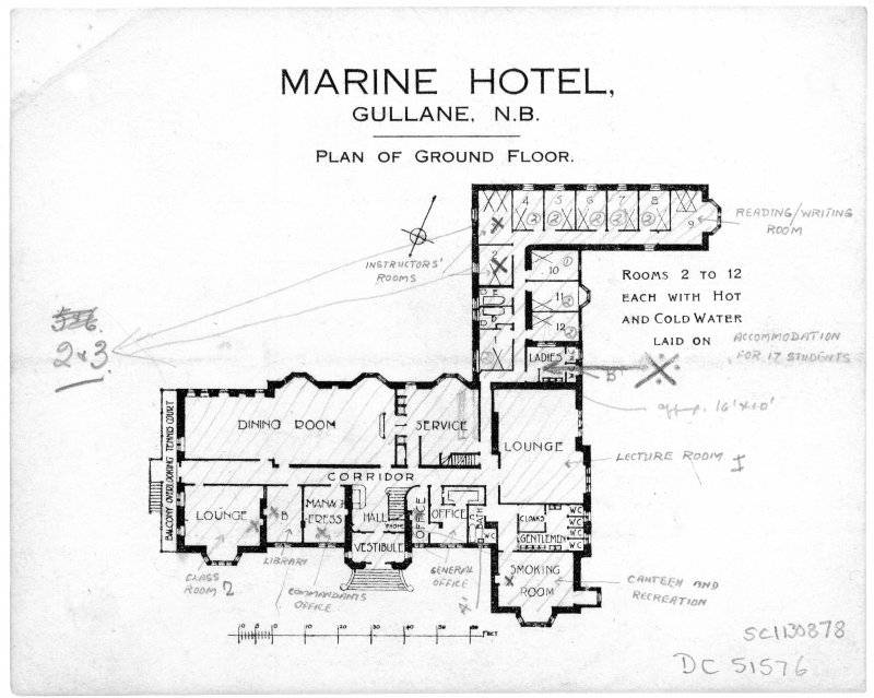 Scanned image of printed drawing of Marine Hotel, Gullane N.B. Plan of Ground floor with annotations relating to take over by Fire Service.