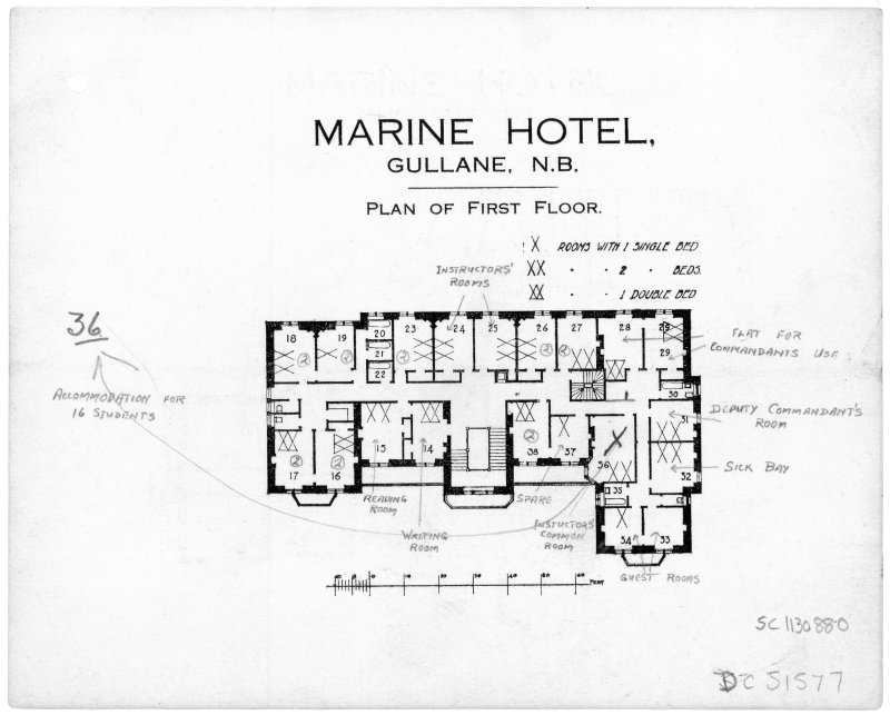 Scanned image of printed drawing of Marine Hotel, Gullane N.B. Plan of First floor with annotations relating to take over by Fire Service.