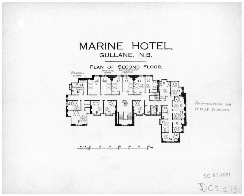 Scanned image of printed drawing of Marine Hotel, Gullane N.B. Plan of Second floor with annotations relating to take over by Fire Service.
