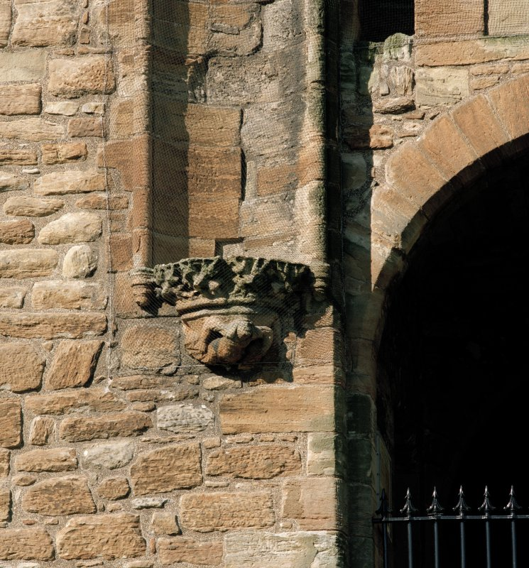 East entrance, detail of corbel under niche