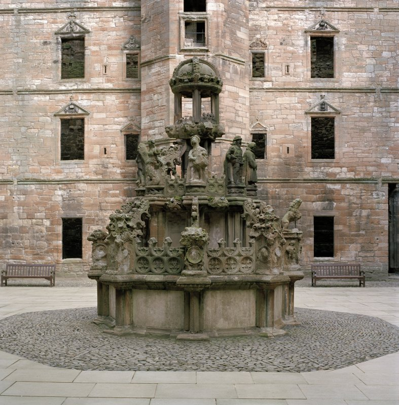 Courtyard, fountain, view from south