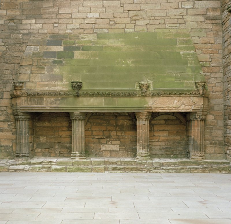 East range, great hall, view of fireplace