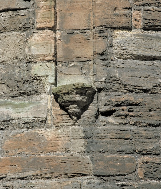 Courtyard, north west tower, detail of corbel under niche