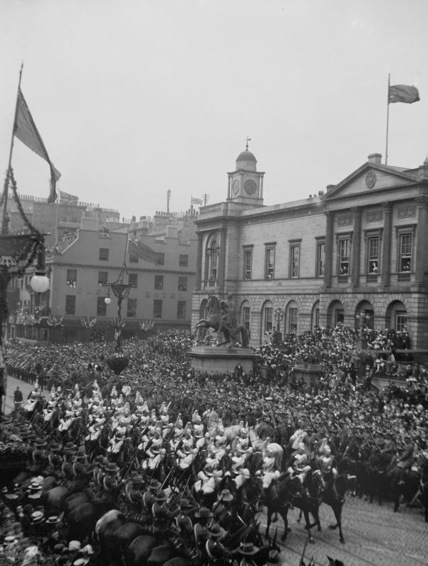 View of street procession outside General Register House, (coronation?)