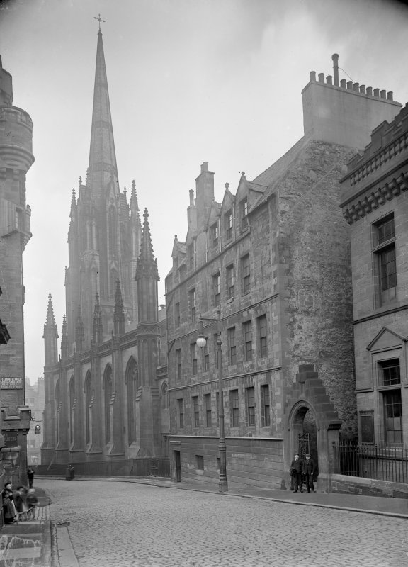 General view of Boswell's Court and Victoria Hall (Tolbooth-St John's Church) in Castlehill