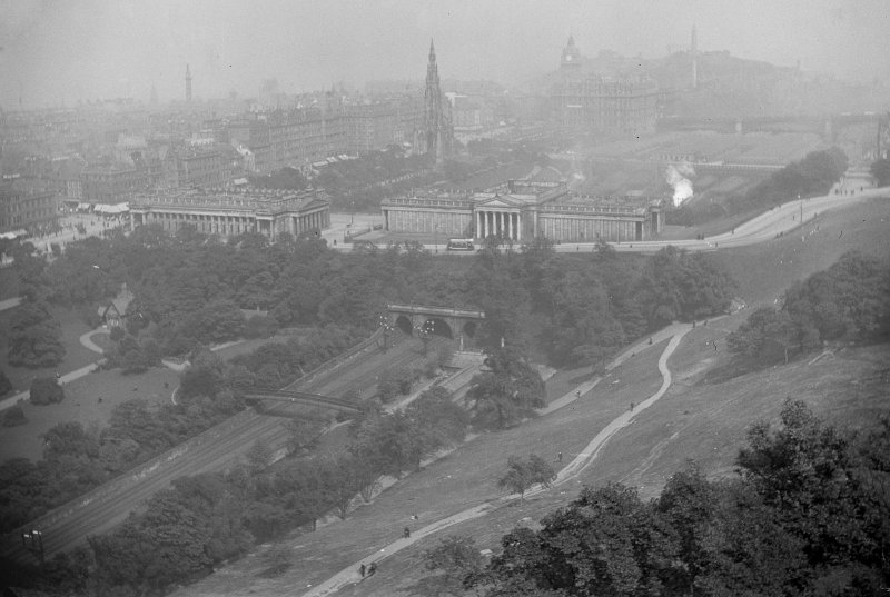General view looking north eastwards from the Castle of Princes Street, also showing the National Gallery and Royal Scottish Academy.