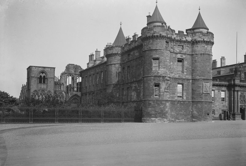 General view of North wing of Holyrood Palace showing James IV's Tower in foreground and Holyrood Abbey behind