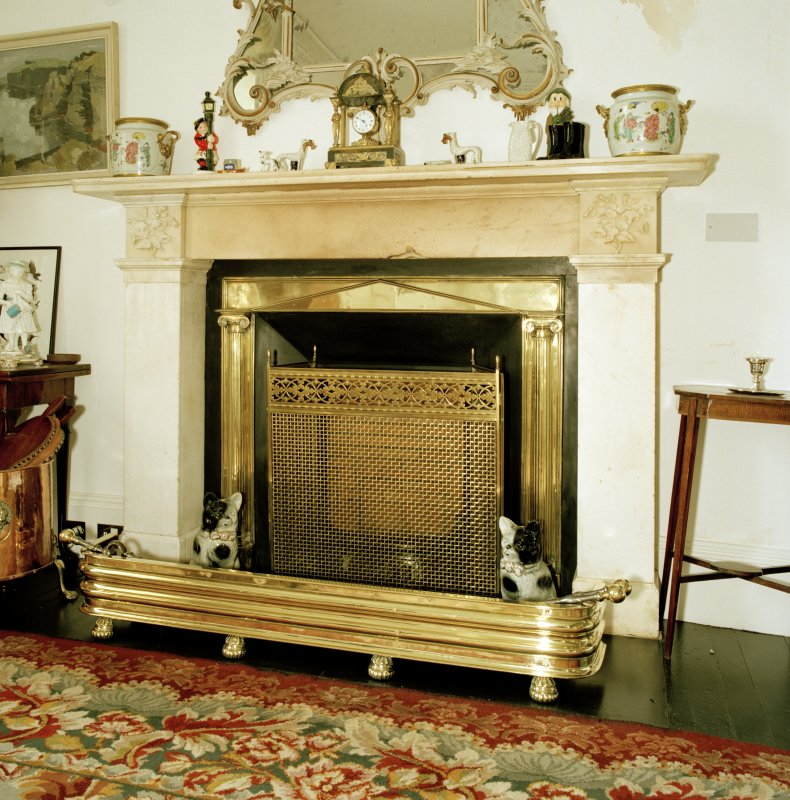 Interior, 1st floor, drawing-room, detail of fireplace
