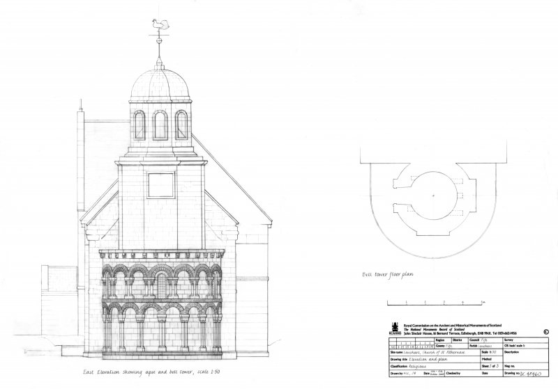 East elevation showing Apse and Bell Tower and plan of Bell Tower