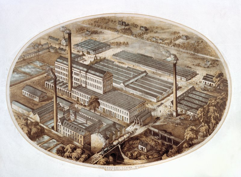 Painting showing a perspective view of Camperdown Flax Mill and Linen Works, Dundee.
